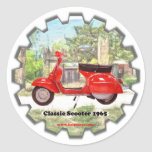 Classic_Scooter_1965 Pegatina Redonda