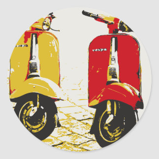 Classic Scooter Round Stickers
