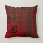Classic Scottish Brodie Clan Tartan Plaid Monogram Throw Pillow
