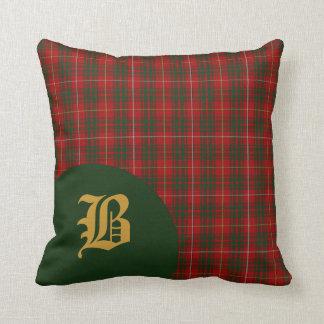 Classic Scottish Bruce Clan Tartan Plaid Monogram Throw Pillow