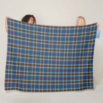 Classic Scottish Clan Thompson Blue Tartan Plaid Fleece Blanket