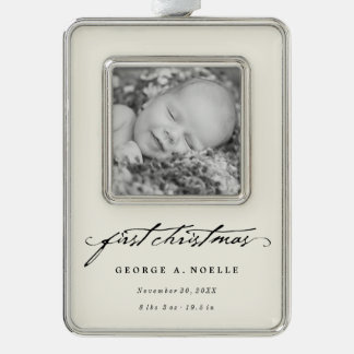 Classic Script Baby 1st Christmas Photo Ornament
