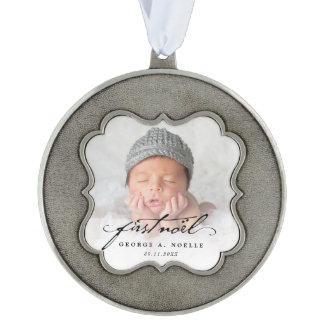 Classic Script Baby First Noel Photo Ornament