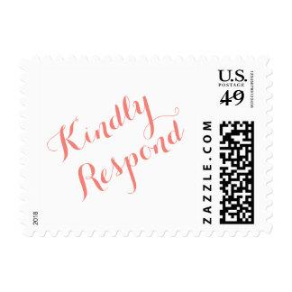 Classic Script Coral   Elegant Wedding RSVP Stamp