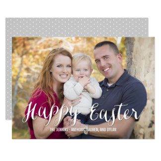 Classic Script Easter Photo Cards Editable Color