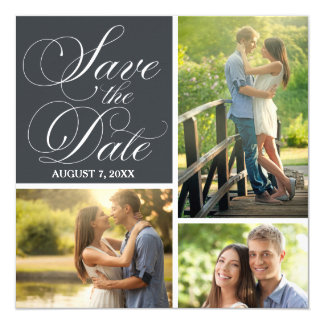 Classic Script Save The Date Photo Collage Card