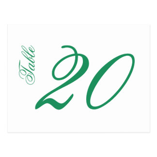 Classic Script Table Numbers (Green / White) Postcard