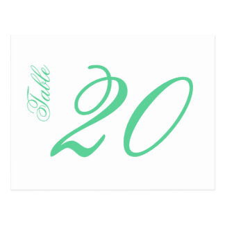 Classic Script Table Numbers (Mint Green / White) Postcard
