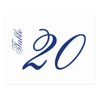 Classic Script Table Numbers (Navy Blue / White) Postcard