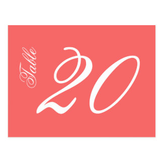 Classic Script Table Numbers (White / Coral) Postcard