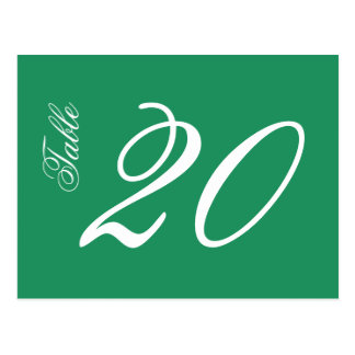 Classic Script Table Numbers (White / Green) Postcard