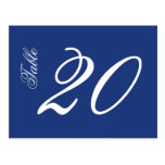 Classic Script Table Numbers (White / Navy Blue) Postcard