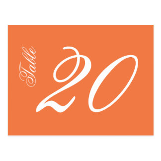 Classic Script Table Numbers (White / Orange) Postcard
