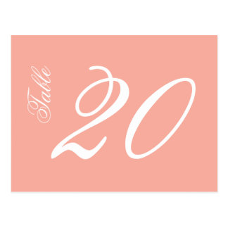 Classic Script Table Numbers (White / Peach) Postcard