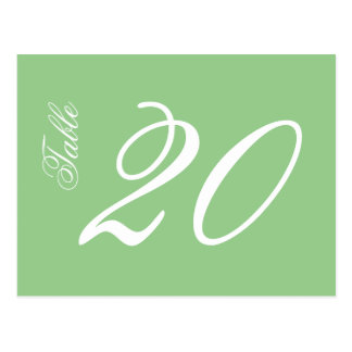 Classic Script Table Numbers (White / Sage Green) Postcard