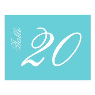 Classic Script Table Numbers (White / Teal) Postcard