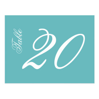 Classic Script Table Numbers (White / Turquoise) Postcard
