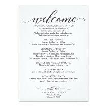 Classic Script Wedding Itinerary - Wedding Welcome Card