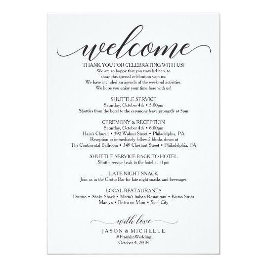 Classic script wedding itinerary wedding welcome invitation classic script wedding itinerary wedding welcome invitation junglespirit Image collections