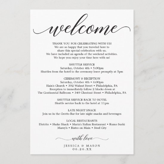 Classic Script Wedding Itinerary - Wedding Welcome Program