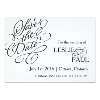 Classic Scroll Font Save the Date Card