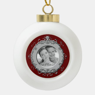 Classic Scrolls Photo Frame (Silver) Ceramic Ball Christmas Ornament