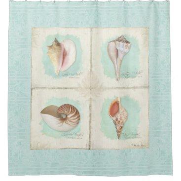 Beach Themed Classic Sea Shells Beach Ocean Shore Aqua Blue Shower Curtain