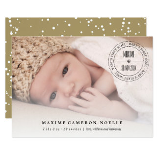 Classic Seal Baby First Noel Christmas Photo Card