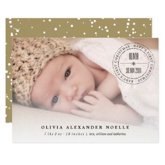 Classic Seal Baby's First Christmas Photo Card