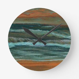 Classic Seascape Beach Decor Gifts Sea Waves Art Round Clock