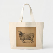 Classic Sheep Art Illustration Antique Farm Animal Large Tote Bag