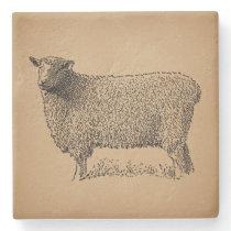 Classic Sheep Art Illustration Antique Farm Animal Stone Coaster