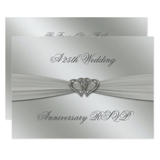 Classic Silver 25th Wedding Anniversary RSVP Card