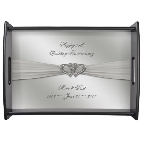 Classic Silver 25th Wedding Anniversary Serving Tray