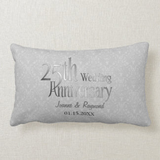 Classic Silver Damask 25th Wedding Anniversary Lumbar Pillow