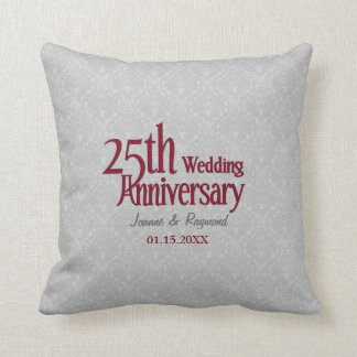 Classic Silver Damask 25th Wedding Anniversary Throw Pillow