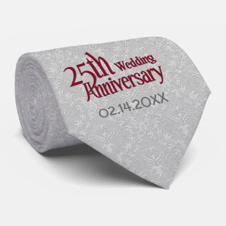 Classic Silver Damask 25th Wedding Anniversary Tie