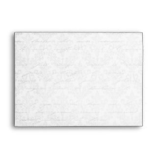 Classic Silver Damask: Custom Linen Wedding A-7 Envelope