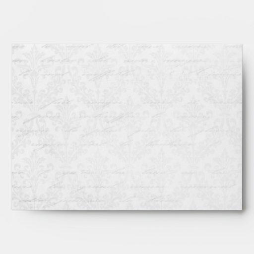 Classic Silver Damask: Custom Linen Wedding A-7 Envelopes
