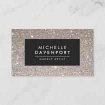 Classic Silver Glitter Makeup Artist Business Card