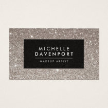 Classic Silver Glitter Makeup Artist Business Card