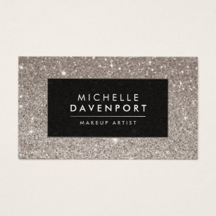 Fashion boutique business cards templates zazzle classic silver glitter makeup artist business card reheart Choice Image