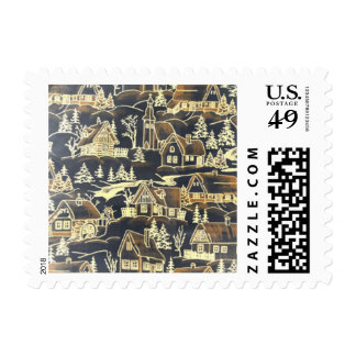Classic Silver Gold Cute Vintage Christmas Village Postage