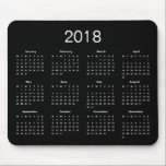 "Classic Simple Black And White 2018 Calendar Mouse Pad<br><div class=""desc"">A simple calssic 2018 calendar mouse pad with white lettering on a black background. Click &#39;Customize&#39; button to add more text or images,  customize background color.</div>"