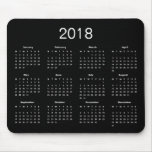 Classic Simple Black And White 2018 Calendar Mouse Pad<br><div class='desc'>A simple calssic 2018 calendar mouse pad with white lettering on a black background. Click &#39;Customize&#39; button to add more text or images,  customize background color.</div>