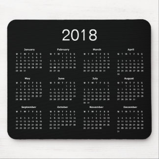 Classic Simple Black And White 2018 Calendar Mouse Pad