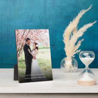 Classic Simple Black Gradient Wedding Photo Easel Plaque