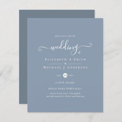 Classic Simple DUSTY BLUE Wedding Budget