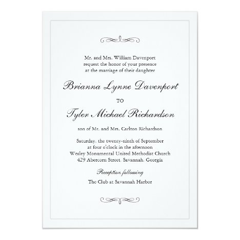Classic Simple Elegance Wedding Invitation