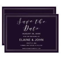 Classic Simple Purple Wedding save the dates Card
